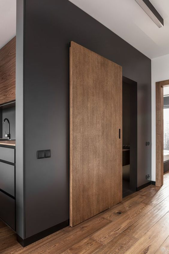 porte coulissante en bois design et moderne