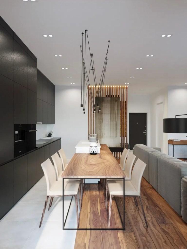 table minimaliste en bois massif avec pieds en métal