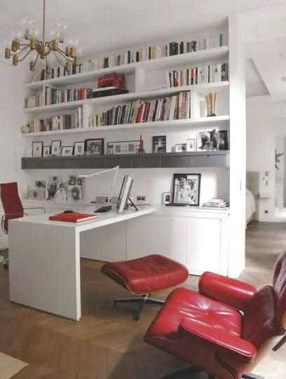 Bureau bibliothèque rouge et blanc style cabinet