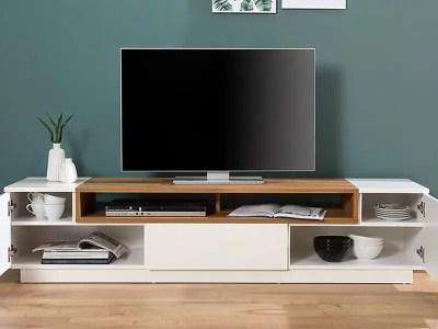 Meuble TV en MDF et plaquage bois véritable