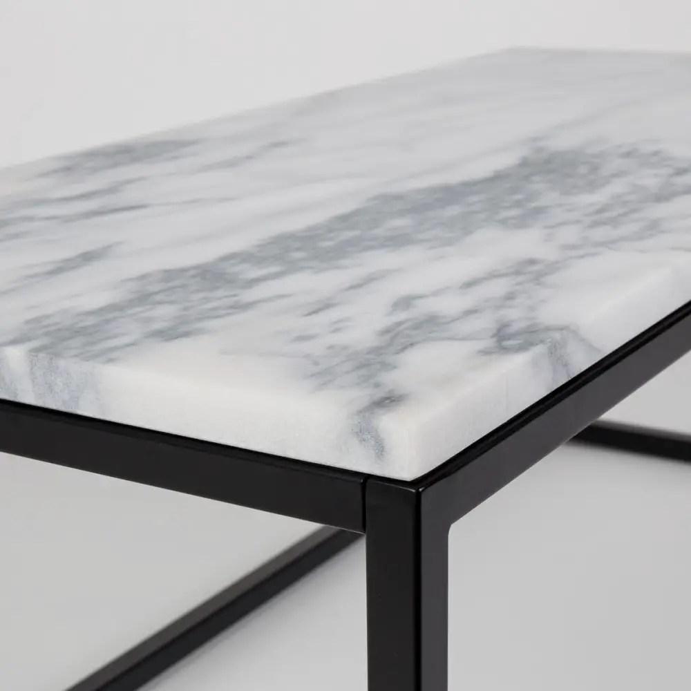 zoom table marbre et acier