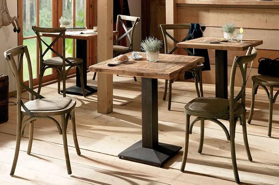 table bistrot sur mesure en vieux bois et métal