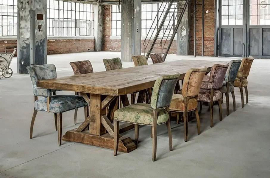 table de ferme en bois massif vieilli