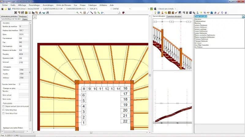 capture de l'écran conception du logiciel escaPro