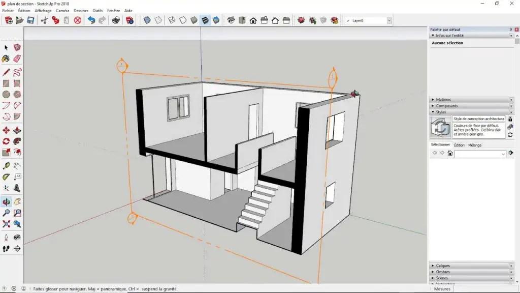 vue du logiciel de menuiserie 3D gratuit sketchup