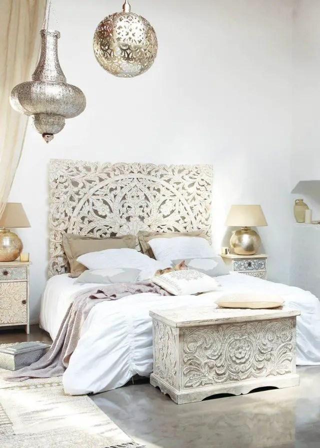 chambre décorée sur le thème de l'Inde