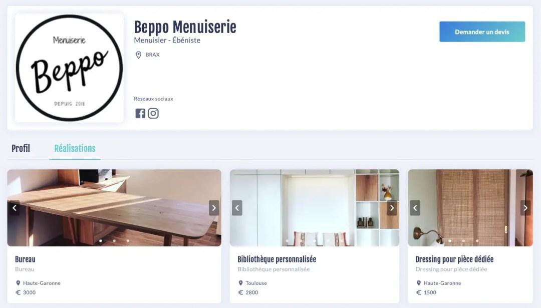 Profil atelier Beppo Menuiserie