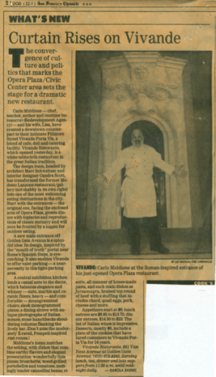1980's Vivande Porta Via newspaper clipping