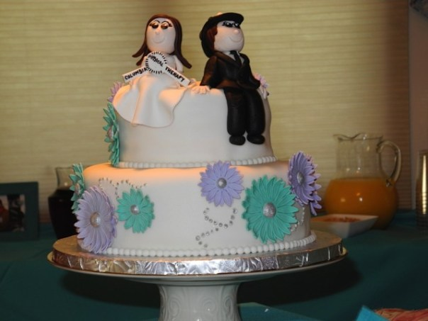 Purple and Teal Engagement Cake