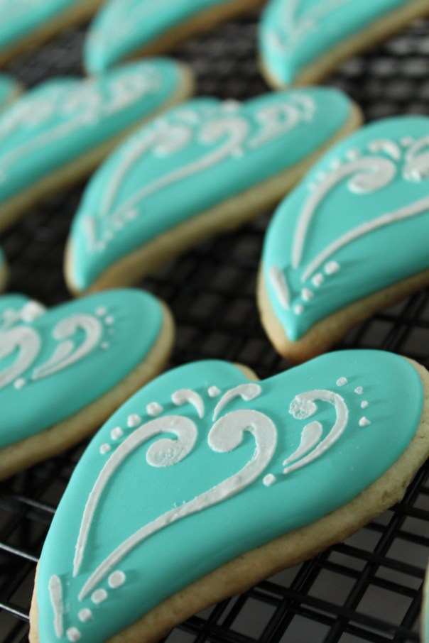 Tiffany Blue Heart Cookies
