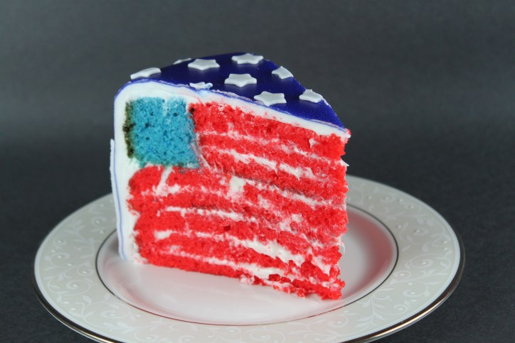 Slice of American Flag Cake