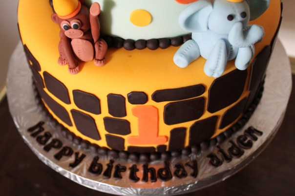 First Birthday Safari Cake