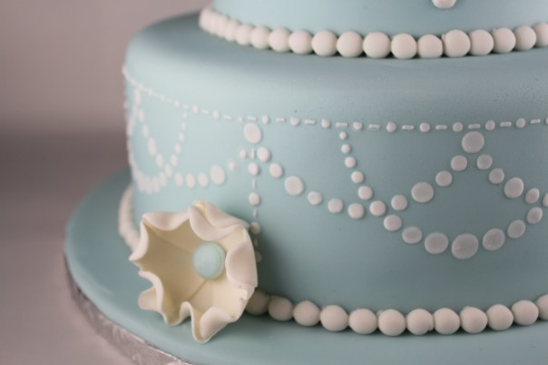 Blue and White Pearl Swag Stencil Cake