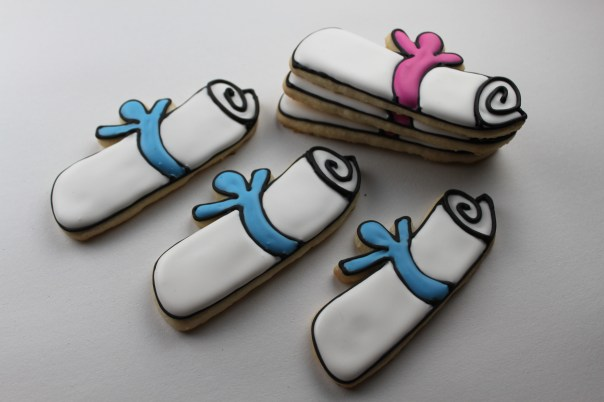 Pink and Blue Diploma Cookies
