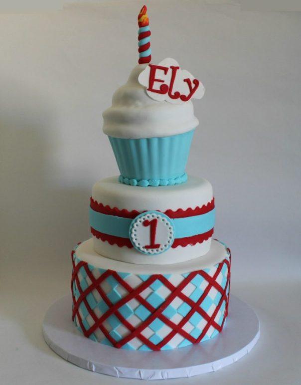 Preppy First Birthday Cake