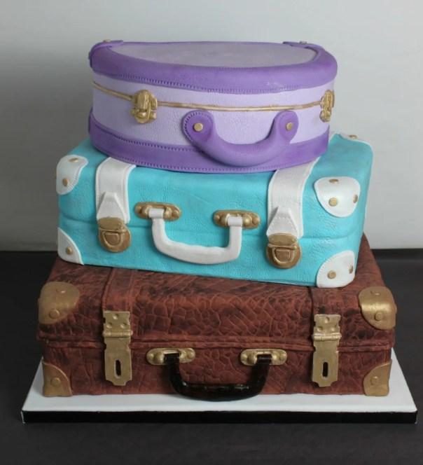 Stacked Suitcase Wedding Cake