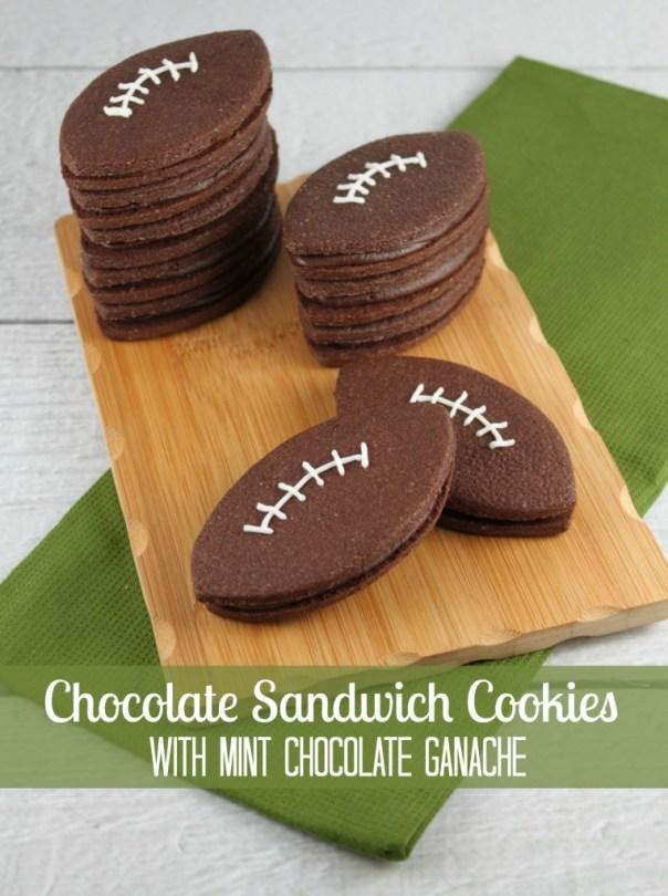 Football Chocolate Sandwich Cookie with Mint Chocolate Ganache