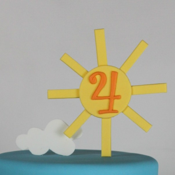 Fondant Sun and Cloud Cake Topper