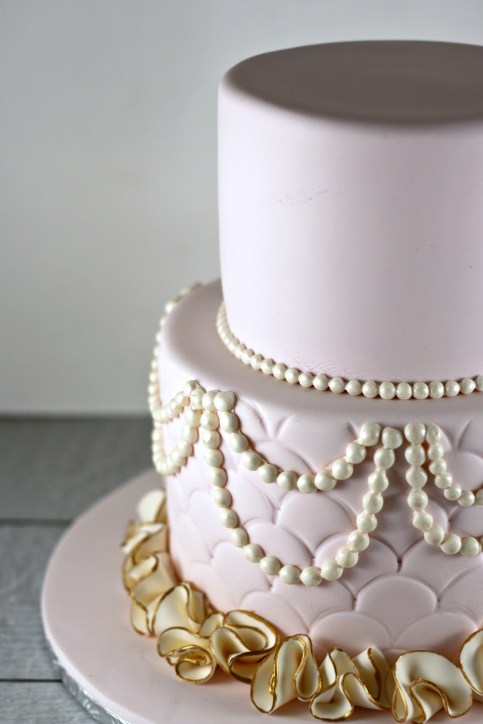 Pink and Gold Pearls and Ruffles Lil Miss Cakes