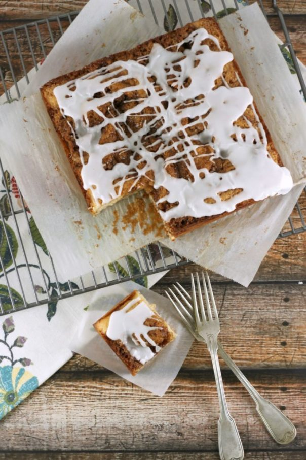 Cinnamon Roll Cake Overhead | Lil Miss Cakes