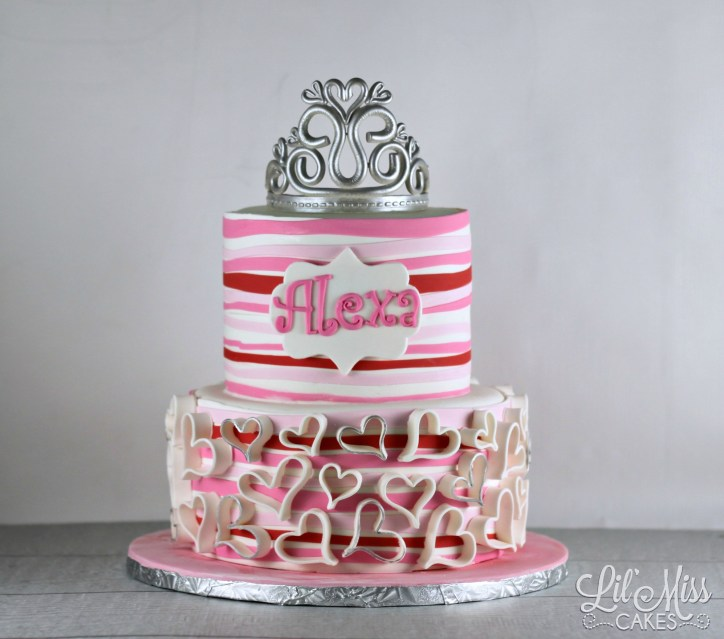 Hearts and Stripes Cake | Lil Miss Cakes