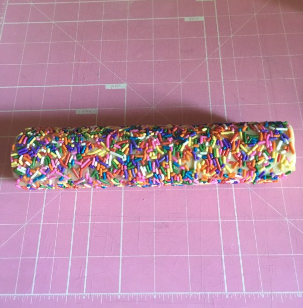 cookie dough covered in sprinkles