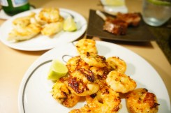 Freshly grilled prawns and fish