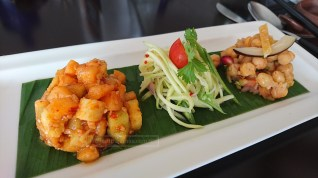 Malaysian Rojak (left), Green mango and long bean salad (Centre) and Indian Chick Pea Salad with Pomegranate (Right)