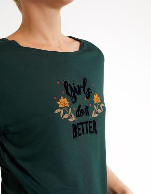IKKS-TEE_SHIRT VERT PINEGREEN GIRLS DO IT BETTER I_CODE-QR10124-58_4
