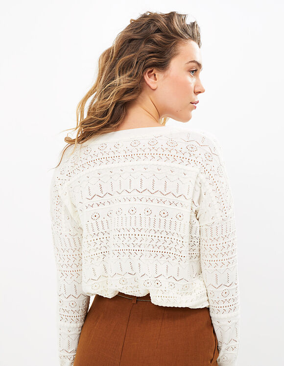 IKKS-PULL BLANC CASSE TRICOT AVEC BRODERIES ANGLAISES I_CODE-QS18054-19_2