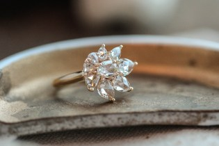 Rose cut diamond cluster style ring in 14K yellow gold