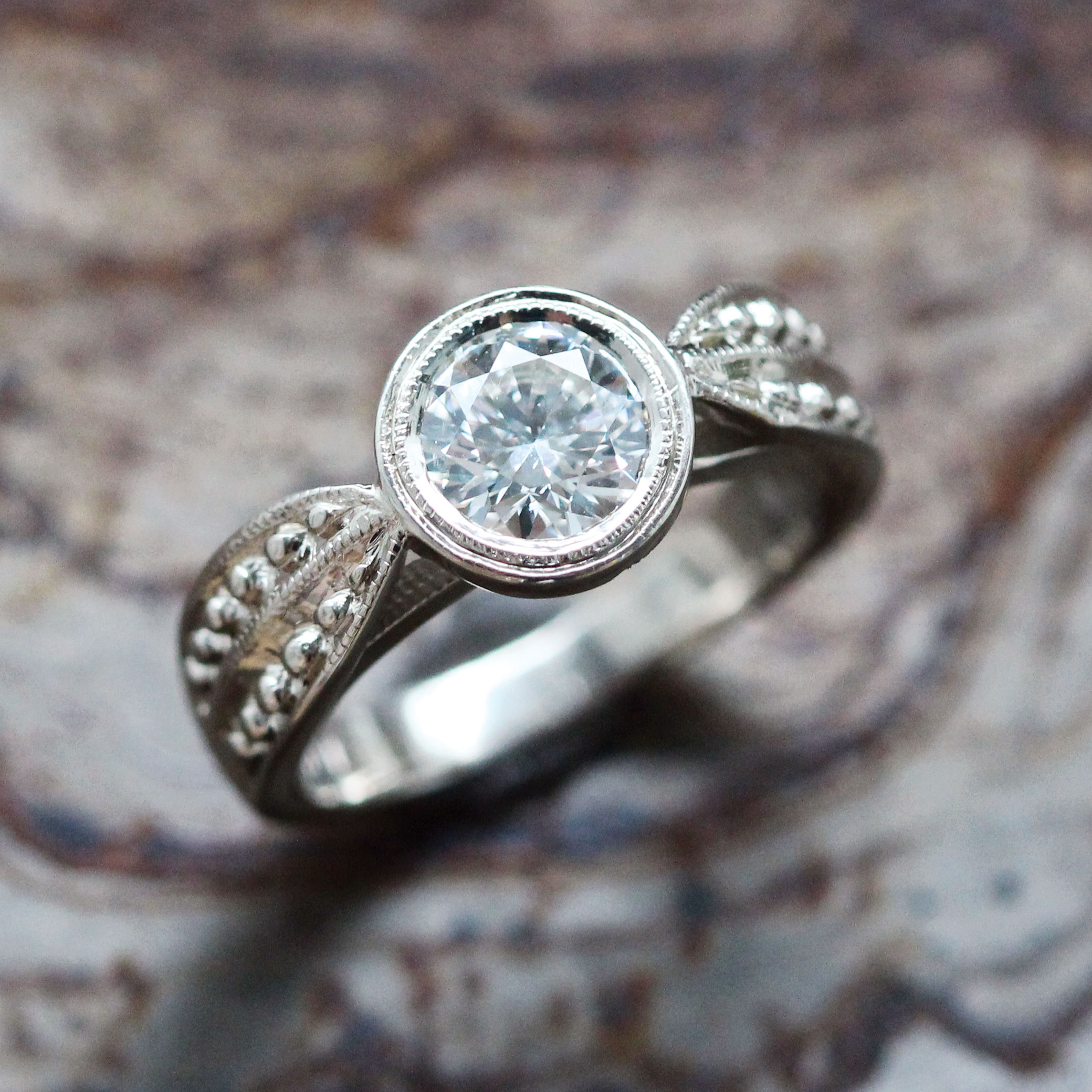 Engagement Ring Small Leaf Side Stone