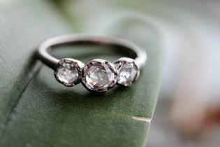 Triple Rose Cut Diamond ring in 14k palladium white gold