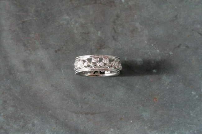 Hand Cut 18 Karat White Gold Vine Band with Milgrain Edge Detail and Multiple Diamonds