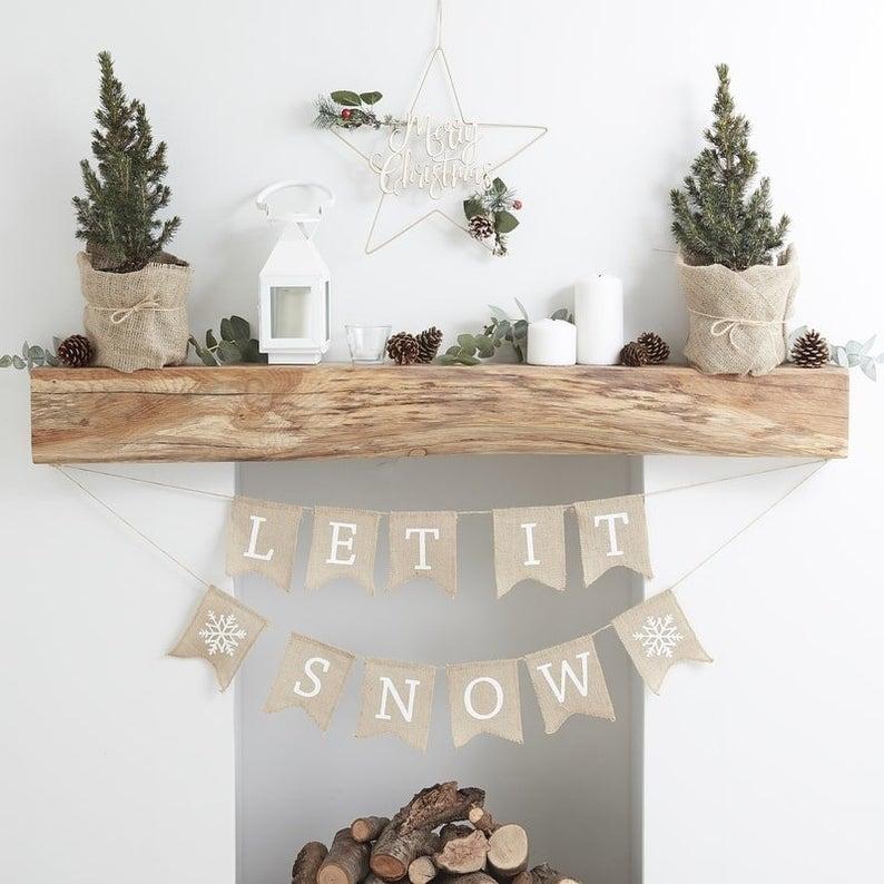 Let it snow décoration de Noël de cheminée à trouver sur Etsy