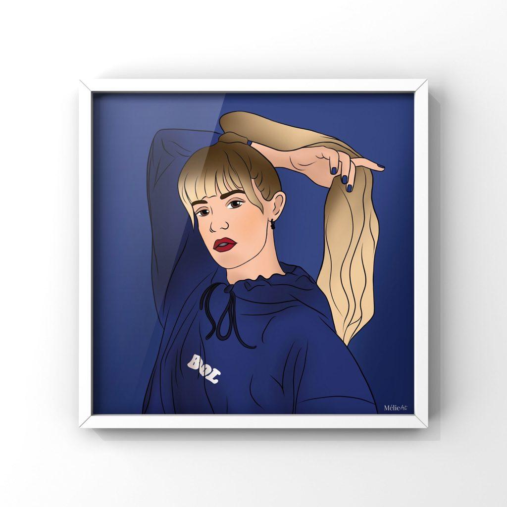Illustration digitale de la chanteuse Angèle en format carré à commander sur Lilovia.com