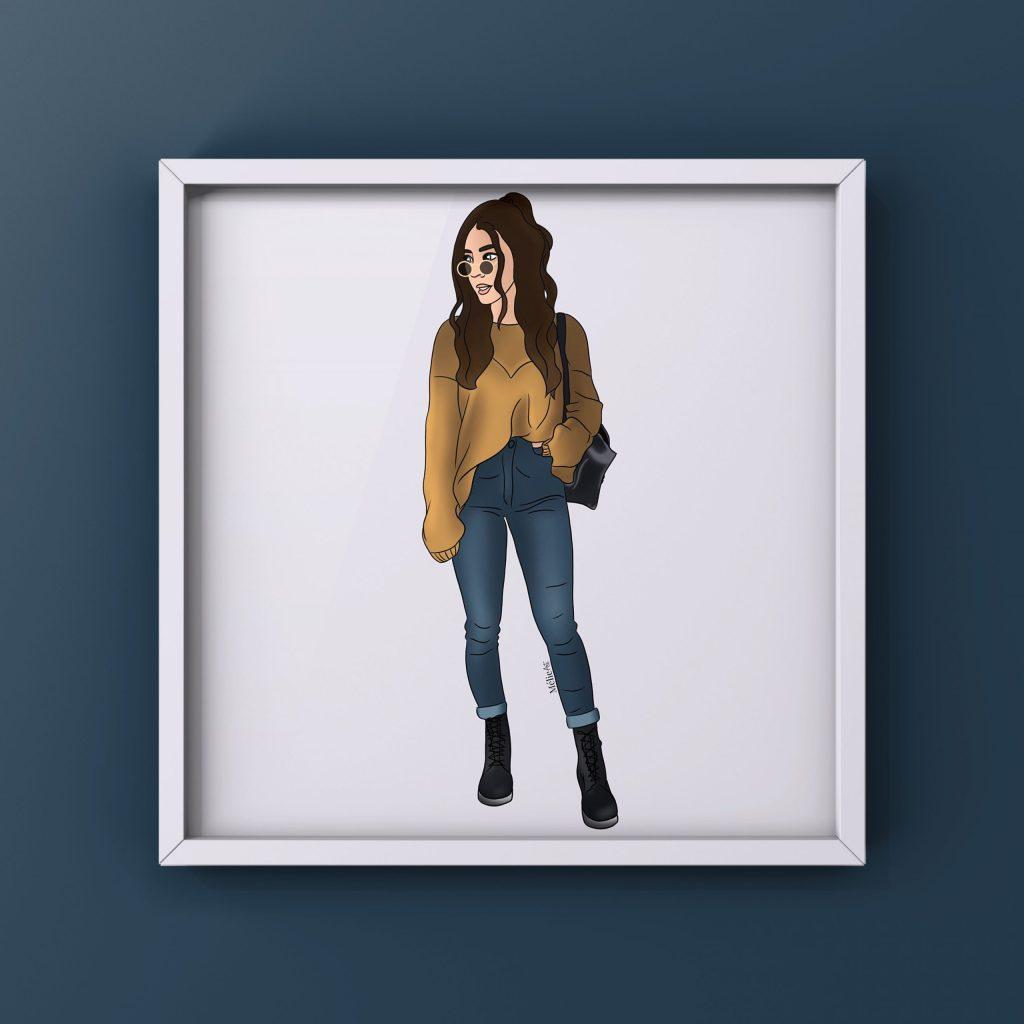 Illustration de mode au format carré à commander directement sur la boutique de Lilovia