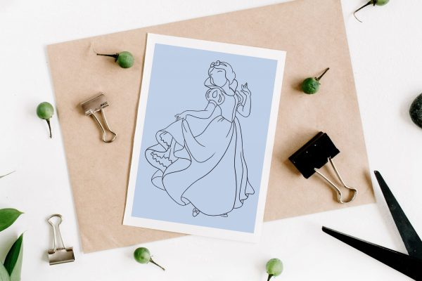 Illustration minimaliste de Blanche-Neige de Disney