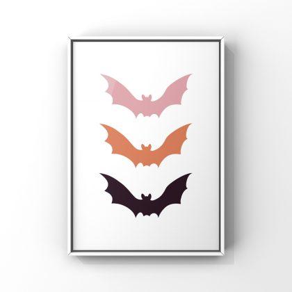 """L'affiche """"Bat"""" est parfaite pour décorer votre intérieur pour Halloween avec des teintes tendances en cet automne 2021."""