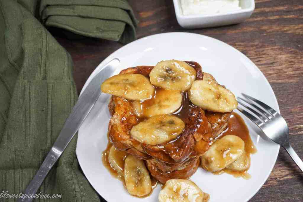 Crown Royal Vanilla Bananas Foster French Toast -- Extremely indulgent French toast like you've never seen before! Bananas Foster and French toast were meant to be. -- lilsweetspiceadvice.com