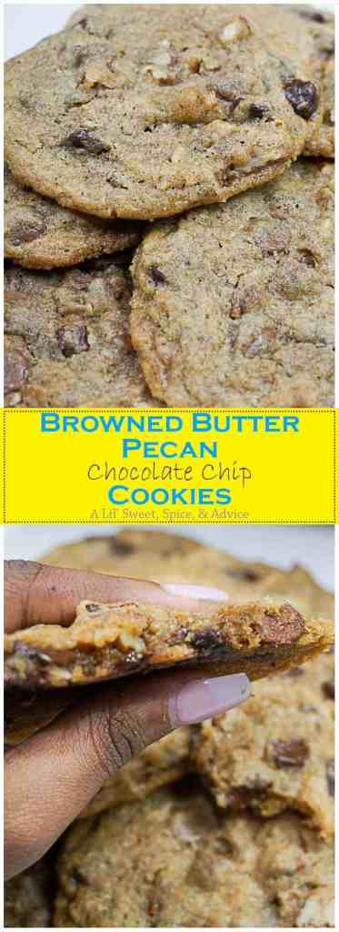Browned Butter Pecan Chocolate Chip Cookies -- These Browned Butter Pecan Chocolate Chip Cookies are going to be the only chocolate chip cookie recipe you'll need this fall! Perfectly chewy and nutty from the browned butter and the butter pecans make these chocolate chip cookies that much more special. -- lilsweetspiceadvice.com
