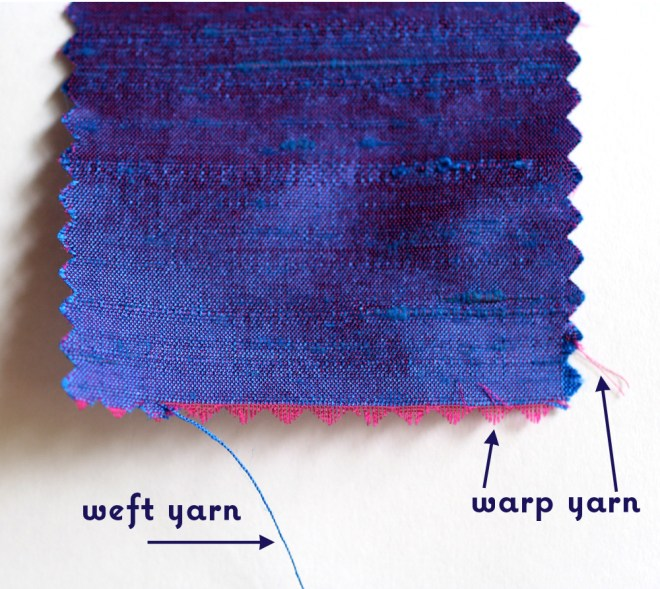 Here is a swatch of Dupioni fabric that's been diagrammed.
