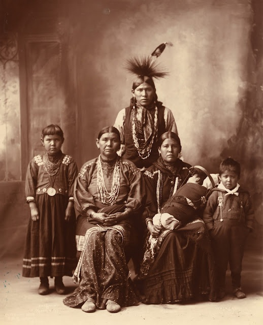 Family portrait taken by Frank Albert Rinehart (1861-1928) at the 1898 Indian Congress in Omaha.