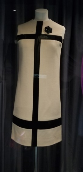 Yves Saint Laurent, Cream and dark navy blue wool jersey, 'Mondrian' dress, 1965; Fashion Museum Bath
