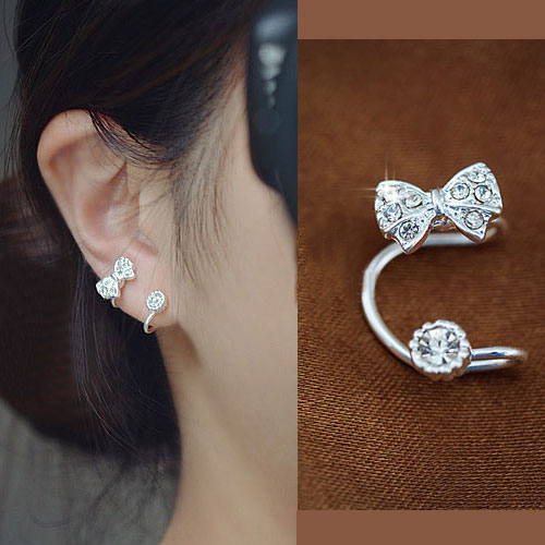 Bow And Round Rhinestone Ear Cuff SilverSingle No