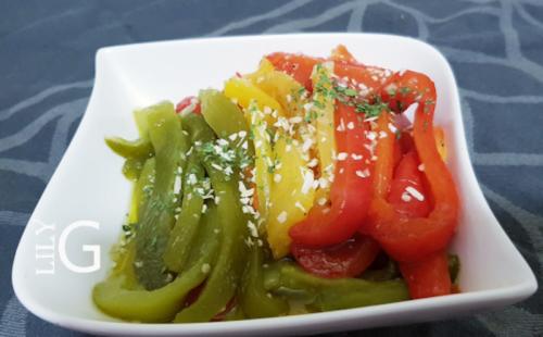 salade cuite chabbat, poivrons grillés, salade cuite poivrons