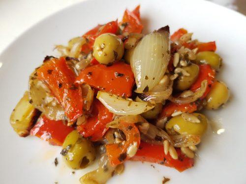 Salade cuite poivrons olives oignons lilygourmandises marmiton blogculinaire