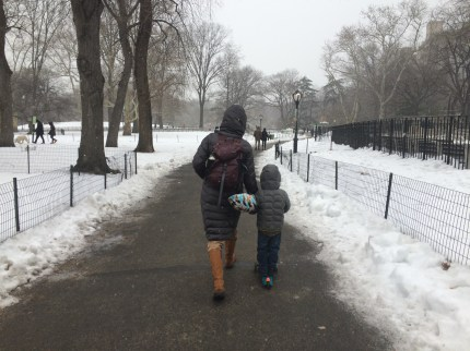 Playing in the snow on Valentine's Day.
