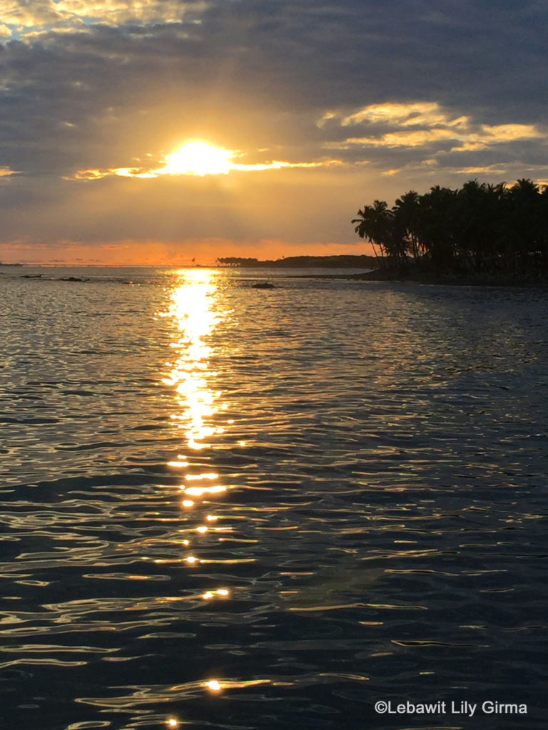 Sunset over sea in Palenque, San Cristobal.