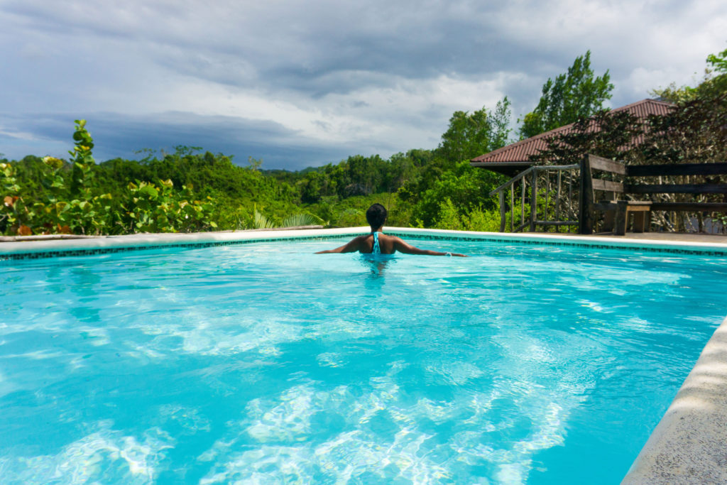 Swimming pool with views at Clave Verde Eco Lodge, Dominican Republic.
